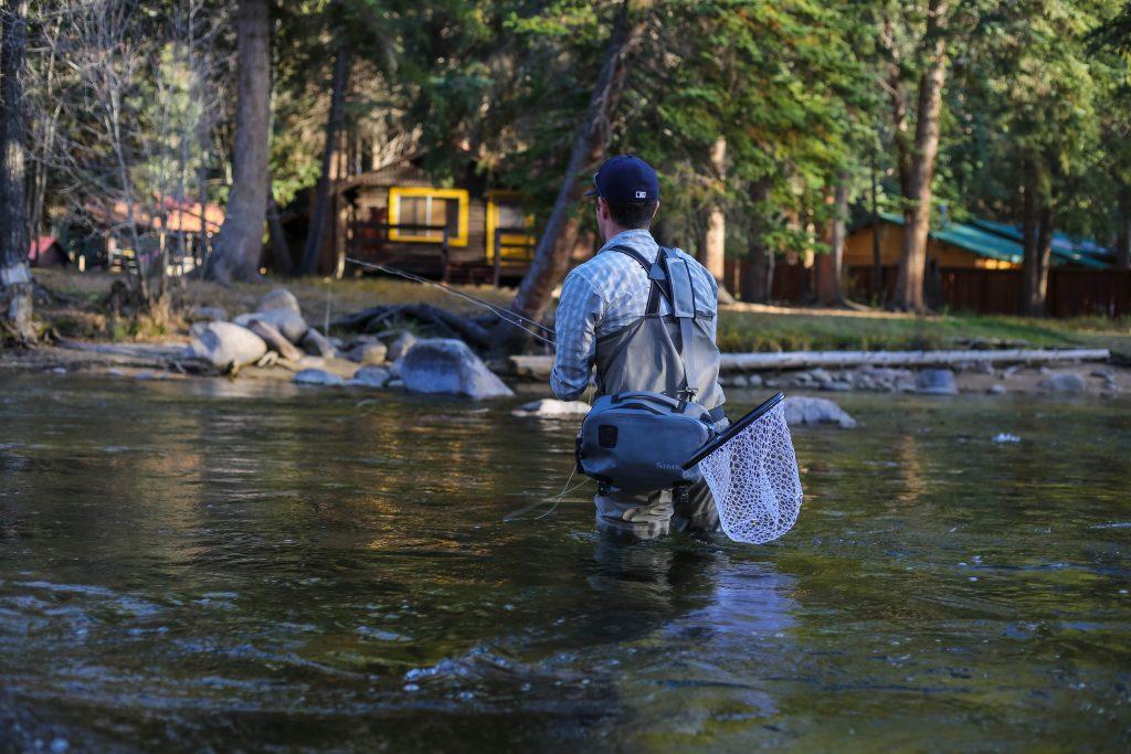 Pêche de la truite à la mouche dans un petit cours d'eau